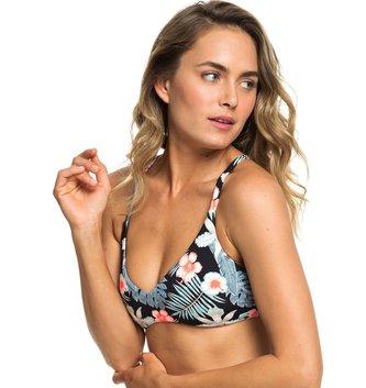 ROXY Beach Classics Reversible Fixed Triangle Bikini Top/Mini Bottom - Anthracite Tropicalababa Swim