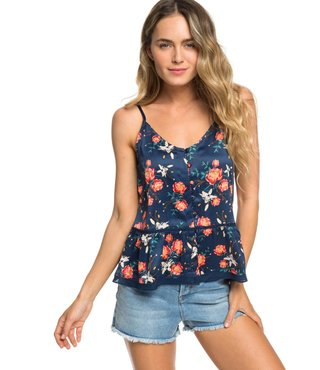 Manhattan At Dusk Satin Button Front Cami Top - Dress Blue Garden Lily