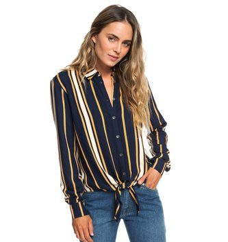 ROXY Suburb Vibes Long Sleeve Tie-Front Shirt - Dress Blue Macy Stripe