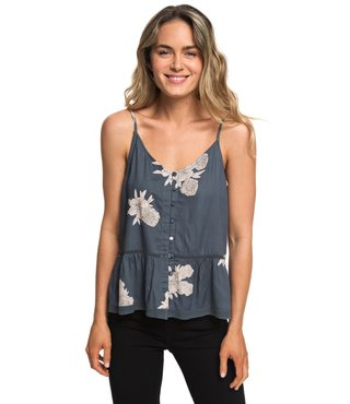 Manhattan At Dusk Button Front Cami Top - Turbulence Rose and Pearls