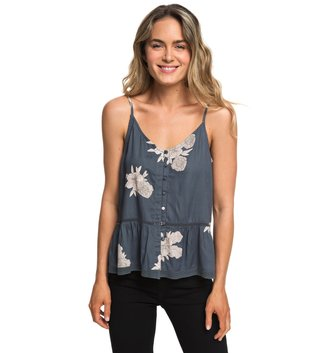 ROXY Manhattan At Dusk Button Front Cami Top - Turbulence Rose and Pearls
