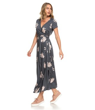 District Day Short Sleeve Maxi Dress - Turbulence Rose and Pearls