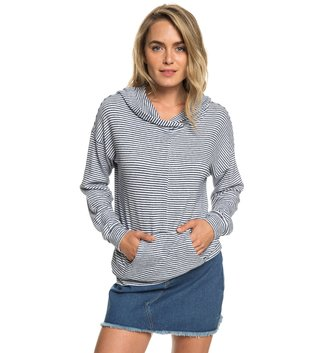 ROXY Sandy Coast Super Soft Hoodie - Dress Blue Cosy Stripes