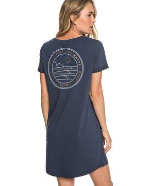 On My Wave Short Sleeve T-Shirt Dress - Dress Blues