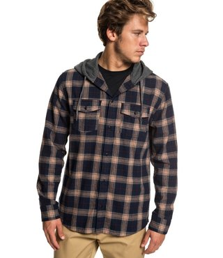 Snap Up Long Sleeve Hooded Flannel Shirt - Praline Snap Up