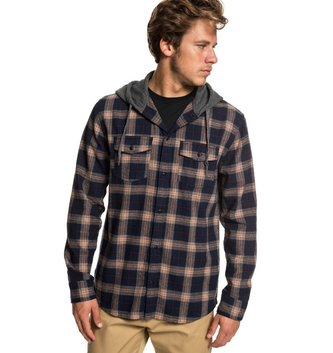 QUIKSILVER Snap Up Long Sleeve Hooded Flannel Shirt - Praline Snap Up
