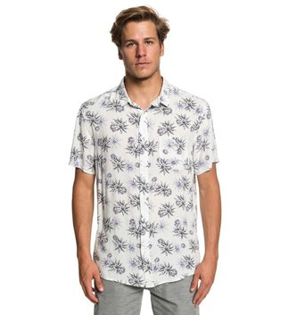 QUIKSILVER Fluid Geometric Short Sleeve Shirt - Gardenia Tea Towel