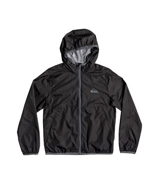 Boy's 8-16 Contrasted Hooded Water-Repellent Windbreaker - Black