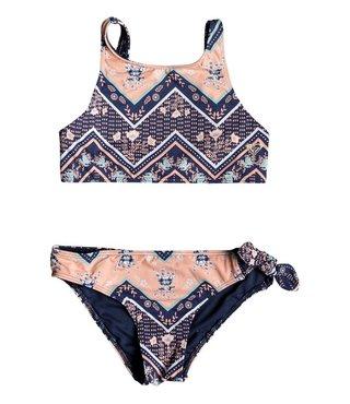 Girl's 7-14 Heart In The Waves Crop Top Bikini Set