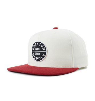 db5b133be70e9 BRIXTON Oath III Snapback Hat - Off White Burgundy