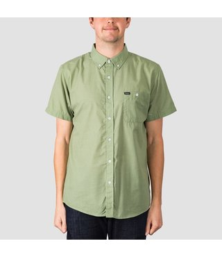 Central Woven Short Sleeve Button Up Shirt - Avocado