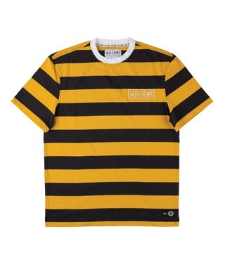 Big Beautiful Stripe Short Sleeve Knit - Black/Gold/White