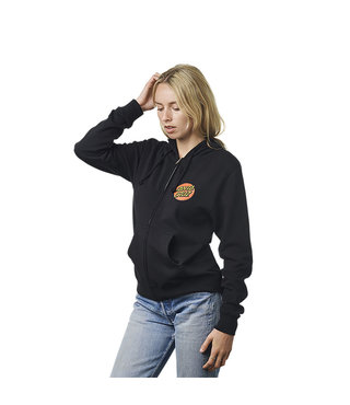 Classic Dot Hooded Zip Up Womens Sweatshirt - Black