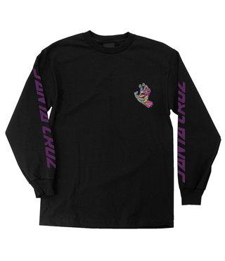 Spill Hand Long Sleeve Mens T-Shirt - Black