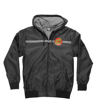 Dot Santa Cruz Mens Hooded Windbreaker Jacket - Black