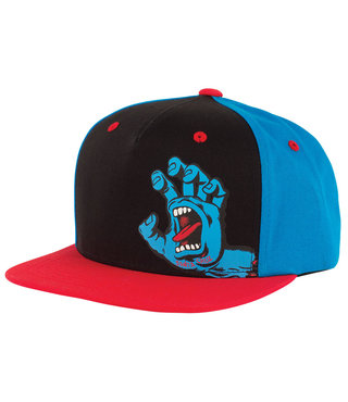Screaming Hand Snapback High Profile Kids Hat - Black/Blue/Red