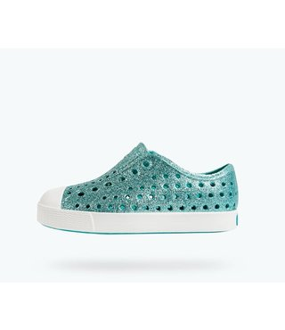 Native Jefferson Bling Child Shoes - Pool Bling/White