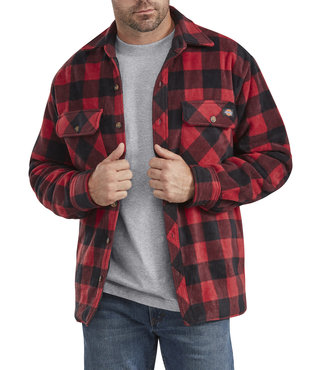 Dickies Relaxed Fit Icon Micro Fleece Quilted Shirt Jacket - Black Red Plaid