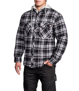 Dickies Quilted Faux Fleece Jacket - Black/White Plaid