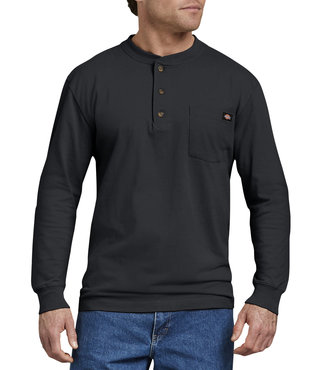 Dickies Long Sleeve Heavyweight Henley Shirt - Black