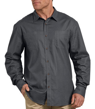 Dickies Relaxed Fit Icon Long Sleeve Solid Shirt - Stonewashed Charcoal Gray