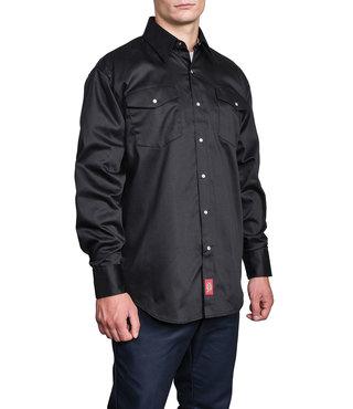 Dickies Long Sleeve Snap Front Work Shirt - Black