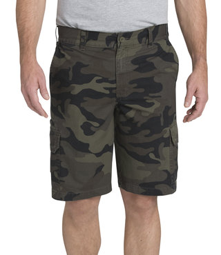 "Dickies 11"" Relaxed Fit Lightweight Ripstop Cargo Short - Moss Green/Black Camo"