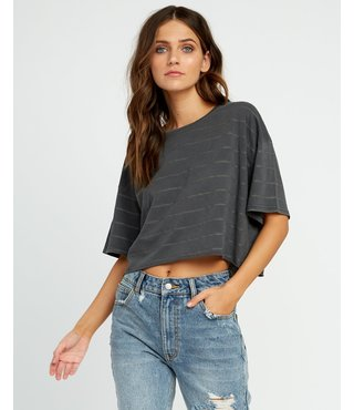 RVCA Vava Striped Cropped T-Shirt - Washed Black
