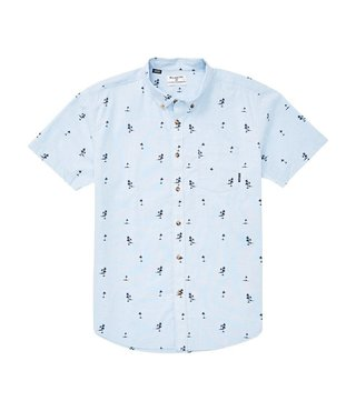 Billabong Sundays Mini Short Sleeve Button Up Shirt - Light Blue
