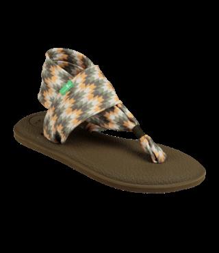 Sanuk Women's Yoga Sling 2 Prints Sandals - Olive Chevron