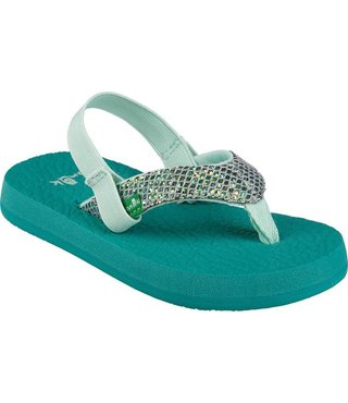 Sanuk Kid's Yoga Glitter Sandals - Sea Green