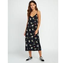 RVCA Maddox Floral Midi Slip Dress - Black