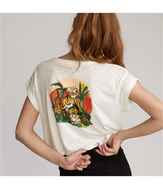 RVCA Women's Tiger Attack Crop Tee - Vintage White