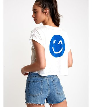 RVCA Happy Sad Cropped T-Shirt - Vintage White