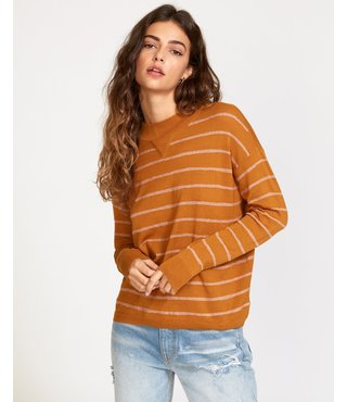 RVCA Tristan Striped Sweater - Cathay Spice
