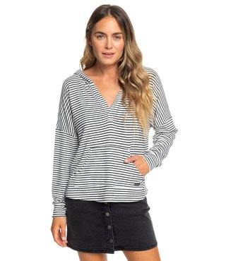 Roxy Sweet Thing Hooded Long Sleeve Top - Anth. Marina Stripes