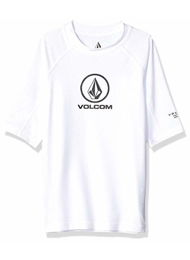 Big Boys Lido Solid Short Sleeve UPF 50 Rashguard - White