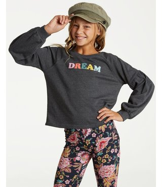 Billabong Girls' Full Bloom Pullover Crew - Black
