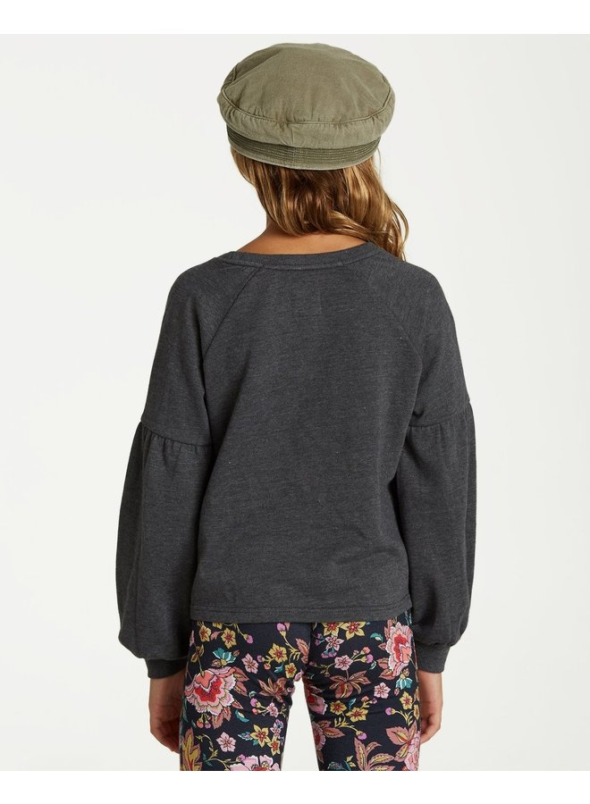 Billabong Girls' Full Bloom Pullover Crew - Black