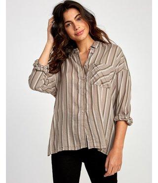 RVCA Hera Oversized Button-Up Shirt - Fog