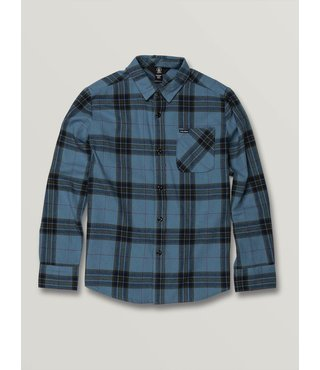 Volcom Big Boys Caden Plaid Long Sleeve - Blue Rinse