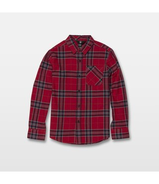 Volcom Big Boys Caden Plaid Long Sleeve - Engine Red
