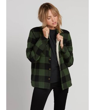 Volcom Plaid About You Long Sleeve - Green