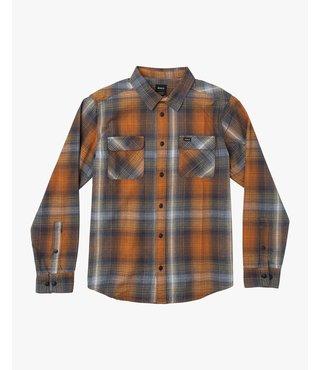 RVCA Muir Plaid Long Sleeve Flannel - Rust Orange