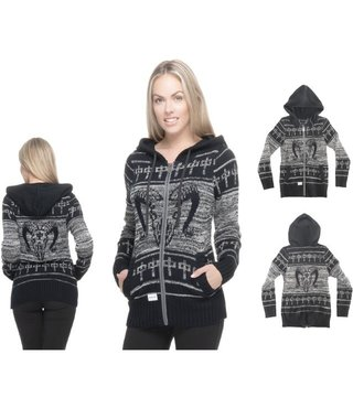 RDS Women's Zip Sweater Ram - Grey/Black
