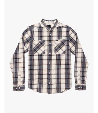 RVCA That'll Work Flannel Long Sleeve Shirt - Silver Bleach