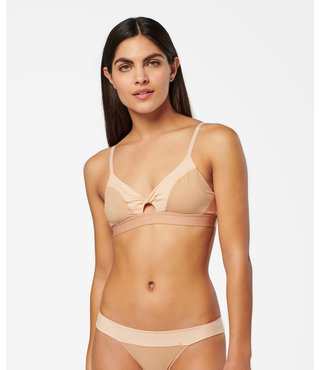 Twisted Triangle Nylon Bralette - Natural