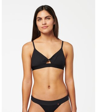 Solid Twisted Triangle Bralette - Black
