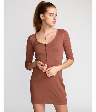 RVCA Twister Ribbed Long Sleeve Dress - Nutmeg