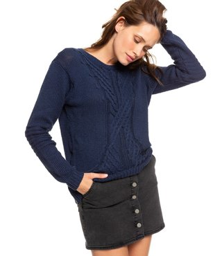Roxy Glimpse Of Romance Sweater - Mood Indigo